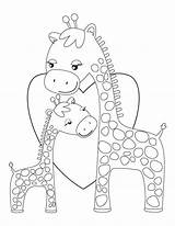 Giraffe Coloring Pages Giraffes Printable Animal Colouring Cartoon Hugging Mommy Sheets Printables Template Sheknows Embroidery Kid Patterns Templates Adult Colors sketch template