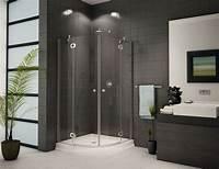 inspiring modern corner shower Contemporary Frameless Neo-Round Clear Shower Enclosure As Inspiring Stand Up Shower With Dark ...