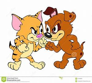 Fight clipart cat and dog - Pencil and in color fight ...