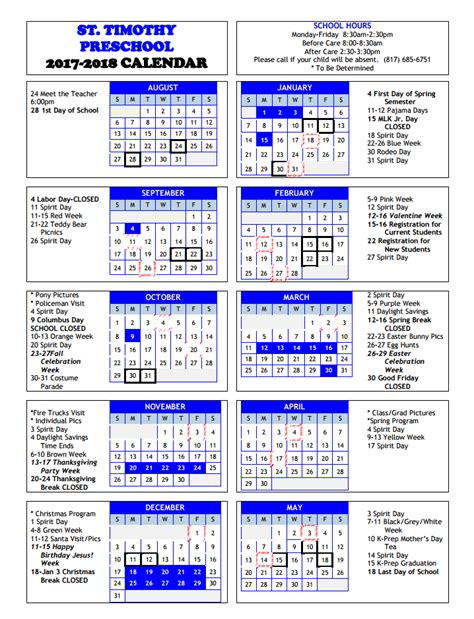 yearly calendar st timothy preschool