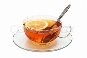 Tee Im Glas : glas tasse mit tee und zitrone auf einem wei en hintergrund stockfoto colourbox ~ Markanthonyermac.com Haus und Dekorationen