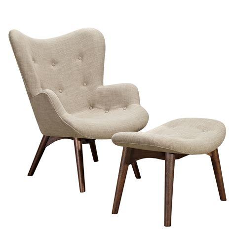aiden mid century modern lt grey fabric chair ottoman in