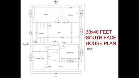 feet south facing house plan bhk south facing