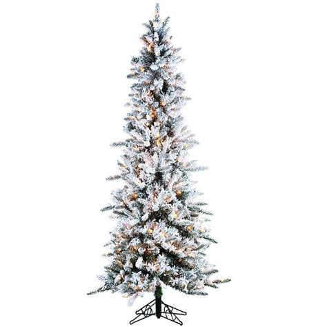 sterling  ft pre lit flocked narrow pine artificial