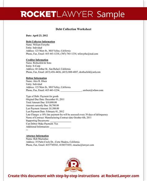 debt collection worksheet  sample