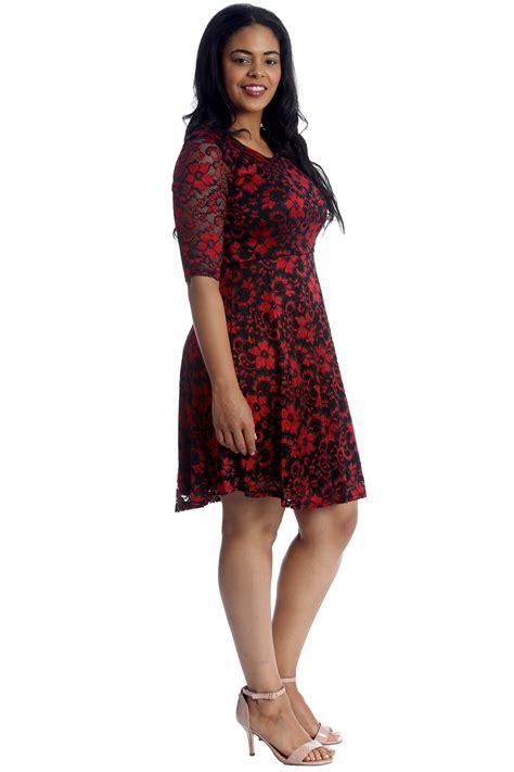 New Womens Plus Size Dress Ladies Skater Floral Lace 2