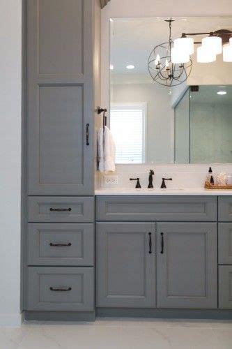 gray bathroom vanity  towers  drawers  storage