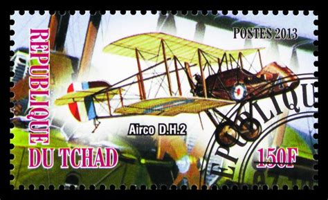Postage Stamp Printed In Chad Shows Airco DH2, Aircrafts ...