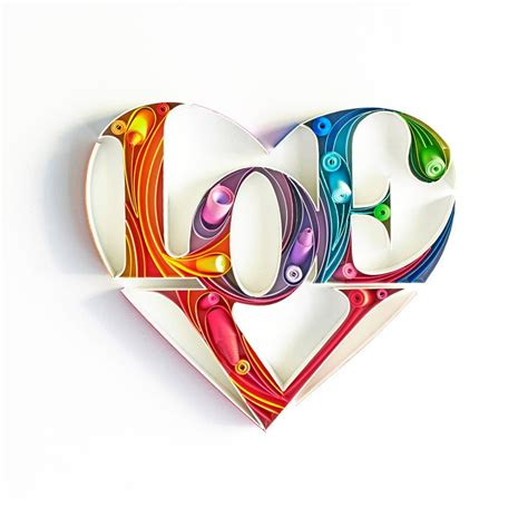 image  love heart quilled paper art quilling work typography love