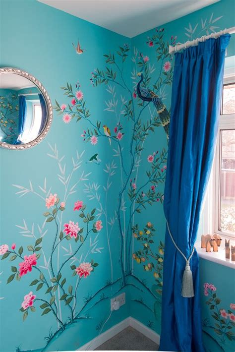 diane hill hand painted interiors turquoise chinoiserie