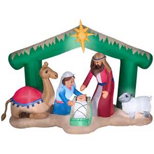 shop holiday living 5 5 ft internal light nativity christmas inflatable at lowes com