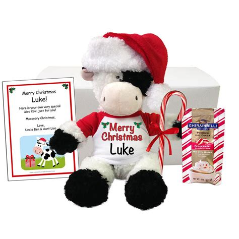 personalized stuffed cow christmas gift set