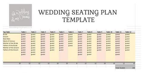 wedding seating plan template planner