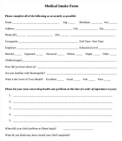 intake form intake form template 10 free pdf documents free premium templates