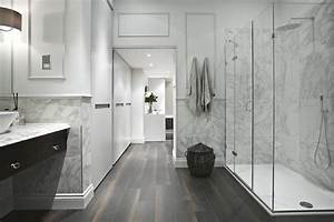 Marble Wainscoting Modern Bathroom
