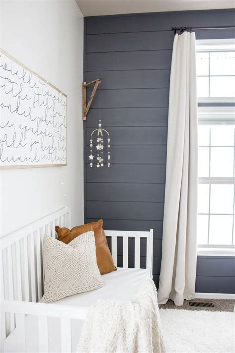 baby boy nursery shiplap wall baby boy bedroom blue