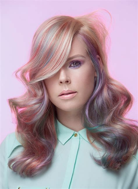 Pretty Pastel Hair Color And Blonde Waves Pink Green