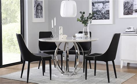 savoy  white marble  chrome dining table