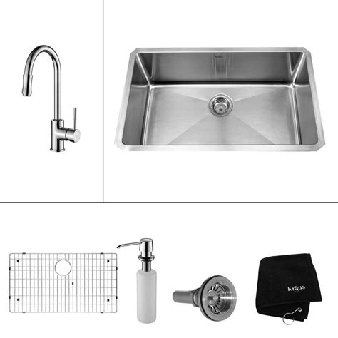 home depot kitchen sink accessories kraus all in one undermount stainless steel 30 in single