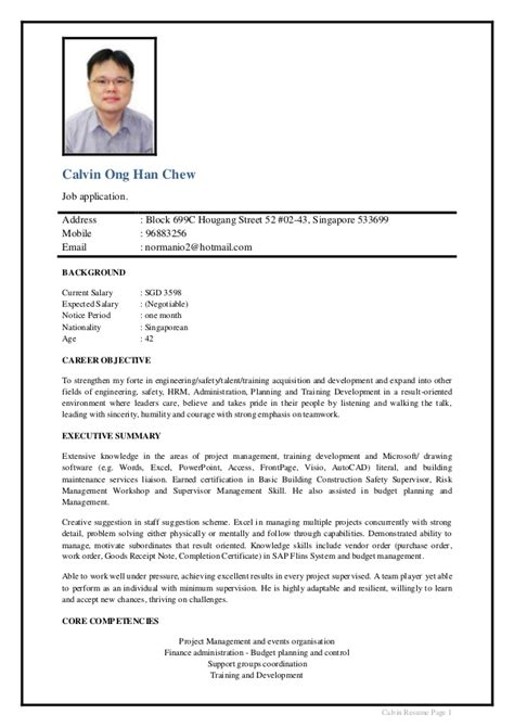 Photo In Resume Singapore by Calvin Ong Cv 2015 V3 2