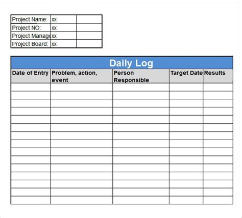 Log Sheet Template Excel by Free 15 Sle Daily Log Templates In Pdf Doc