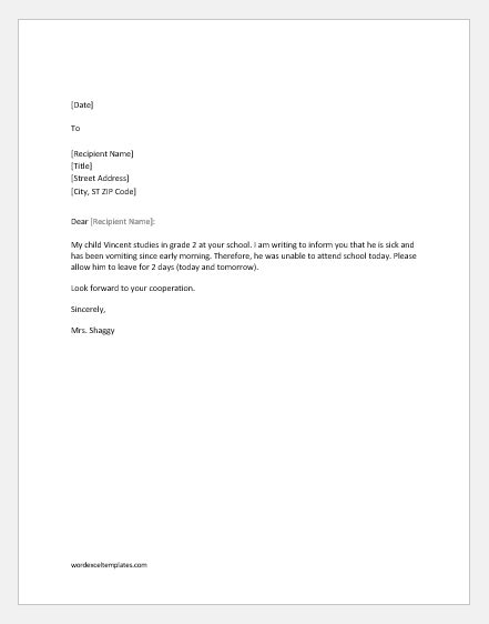 10 excuse letters for being absent in school for various