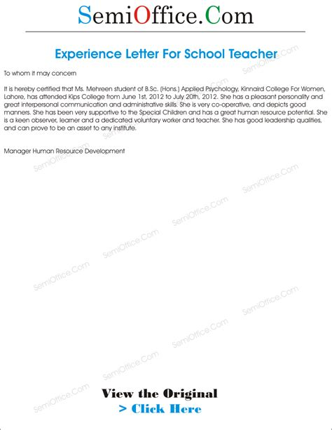 experience letter  teacher  school