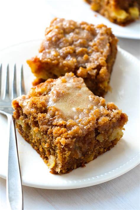 glazed apple crumb cake layers  happiness