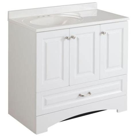 Glacier Bay Bathroom Cabinets by Glacier Bay Lancaster 36 In Vanity In White With Alpine