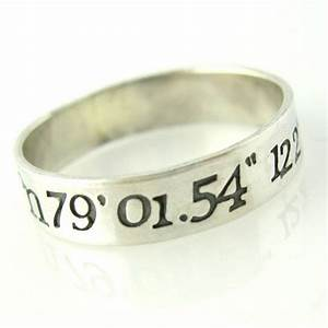 personalized latitude longitude sterling silver wedding With wedding ring with gps