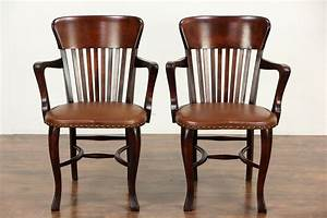 Sold, -, Pair, 1910, Antique, Banker, Office, Or, Library, Chairs, With, Arms, Leather, Seats