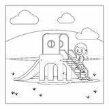 Playground Coloring Castle Bouncy Dreamstime Kid Illustrations Vectors Clipart sketch template