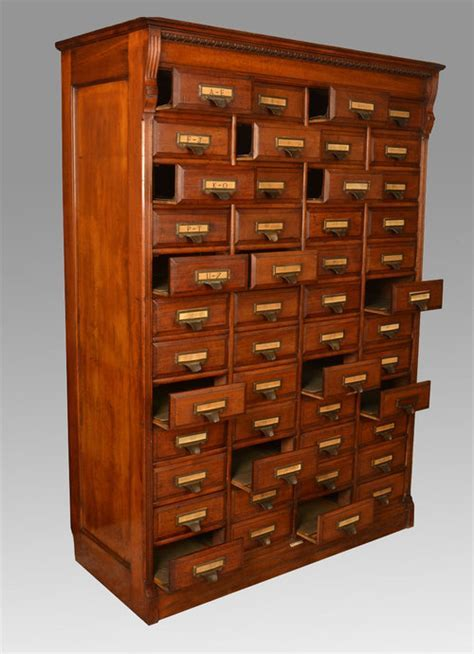 Walnut Forty Eight Draw Shannon Filing Cabinet   Antiques