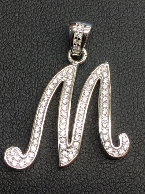 sterling silver cz letter initial  pendant