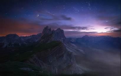 Mountain Night Mountains Starry Evening Summer Landscape