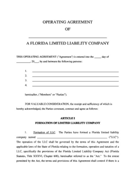 Florida Llc Operating Agreement Sle Confidentiality Agreement Sle Forms And Templates