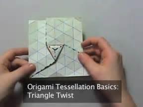 origami tessellation basics triangle twist youtube