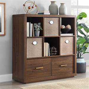 Better, Homes, U0026, Gardens, Steele, 6, Cube, Storage, Room, Organizer, With, Drawers, Multiple, Finishes