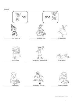 pronoun worksheet  kindergarten kids kids