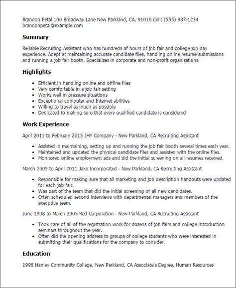 Recruiting Resume by Recruiting Resume Pelosleclaire