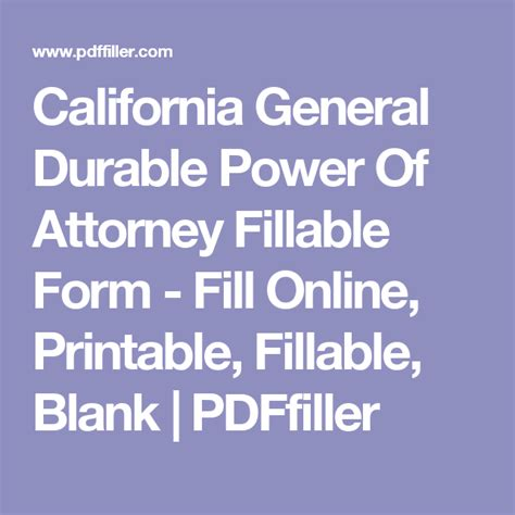 california general durable power  attorney fillable form