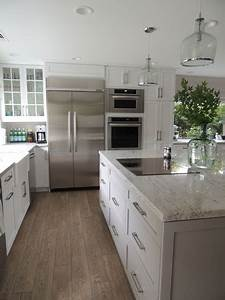 White and Gray Granite - Transitional - kitchen - Sherwin