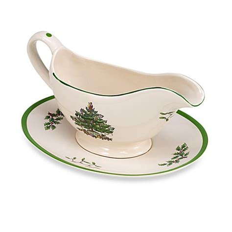 spode 174 christmas tree gravy boat with stand bed bath