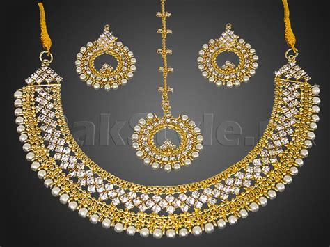 womens white dress pearl golden jewellery set price in pakistan m008867