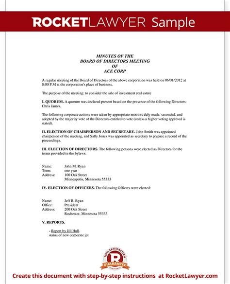 Corporate Board Meeting Minutes Template by Corporate Minutes Corporate Minutes Template With Sle