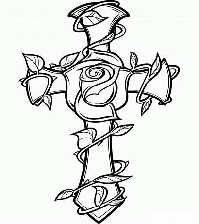 Rose Cross Coloring Pages Printable Roses Drawing