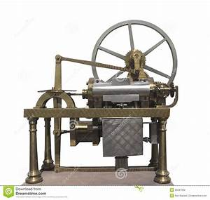 Vintage Early Gas Engine Isolated  Stock Photo