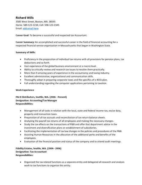 Tax Accountant Resume by Free Tax Accountant Resume Template Sle Ms Word