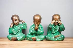 Statue Singe De La Sagesse : statuette pas cher set 3 statuettes jeunes moines de la ~ Teatrodelosmanantiales.com Idées de Décoration