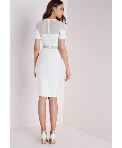 lace panel sleeve midi dress white midi dress with sleeves dresses